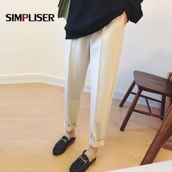Spodnie zimowe damskie zagęścić wełniane ciepłe spodnie haremowe wysokie zwężone kobiece czarne beżowe spodnie Khaki duże rozmiary spodnie mama tanie i dobre opinie simpliser Wełniana Pełna długość CN (pochodzenie) Zima 9087 Stałe Na co dzień Spodnie typu Harem Mieszkanie REGULAR