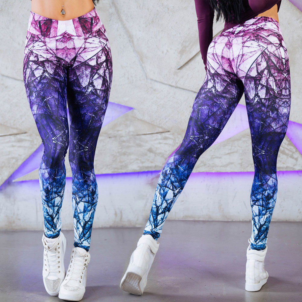 Mandala Leggings Purple Cube Gradient Magic Print Leggings Put Hip High Waist Legging Slim Pants Fitness Leggings Sweatpants