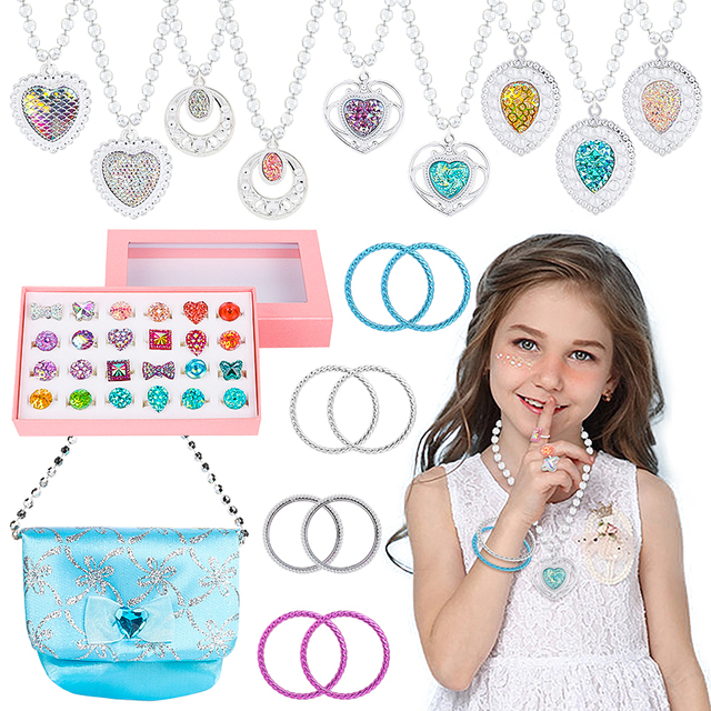 42Pcs Princess Jewelry Play Set Dress Up for Kids with Rings Earrings Necklaces Bracelet Bag Girl Gift Birthday Party Supplies 1