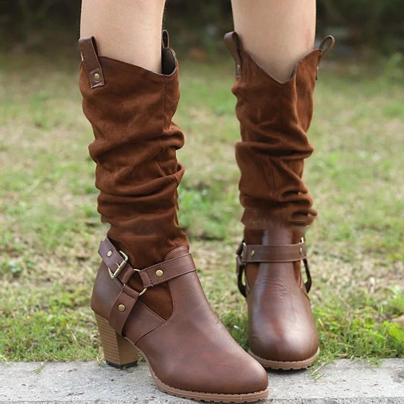 2019 Hot Sale Women PU Leather Mid Calf Boots Fashion Classic High Heels Ladies Autumn Winter Shoes Basic Long Boots in Mid Calf Boots from Shoes