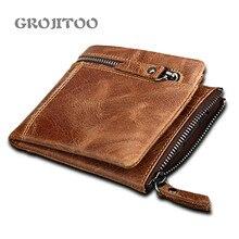 GROJITOO 2020  New Crazy Horse skin anti-theft brush RFID genuine leather men's wallet  Male Pocket Retro Purse High Quatily