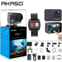 цена на AKASO V50X Native 4K/30fps WiFi Action Camera with 2'' EIS Touch Screen 131 Feet Waterproof Camera Remote Control Sports Camera