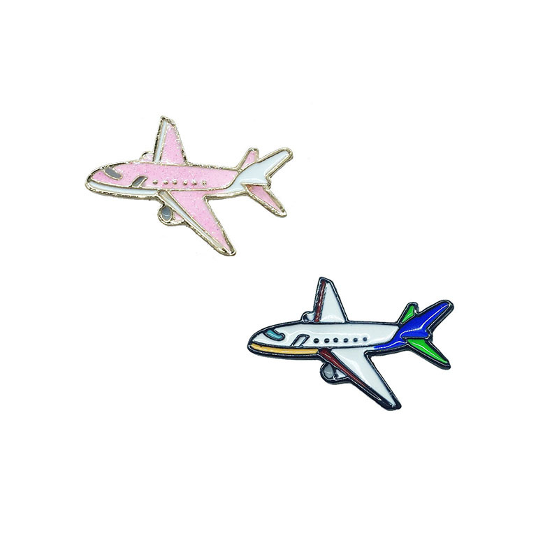 Cute Cartoon Pink Airplane Brooches for Women Creative Metal Pins Jewelry Enamel Pin Denim Jackets Backpack Bag Accessories Gift image