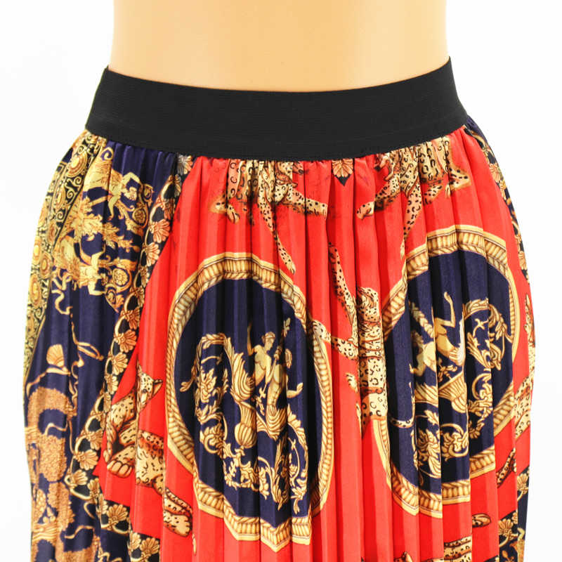 2019 Summer Autumn Women's Skirts Cartoon Printing Midi Pleated Skirt Floral High Elasticity Skirt Plus Size Retro Party Holiday