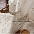 Lace Fabric Pure Cotton 100% Hollow Embroidered Fashion Dress Skirt for Wedding Princess Sewing High Quality Brocade Tulle White