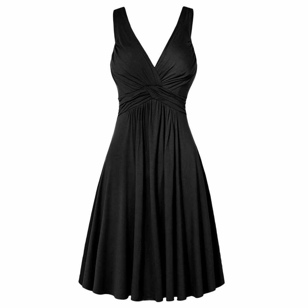 2019 חדש קיץ נשים שמלת פורמליות סקסי מוצק בתוספת גודל V-צוואר רטרו קלע קפלים Slim אבוקה המפלגה שמלה קיצית Vestidos O4