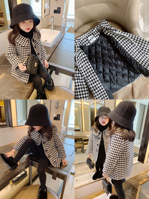 Girl's Coat Autumn And Winter Models Black And White Striped Plaid Woolen Thick Fashion Children Baby Girl Children Long Coat