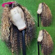 Perruque Lace Frontal Wig naturelle bouclée, 13x4, couleur à reflets ombré, cheveux humains, pour femmes
