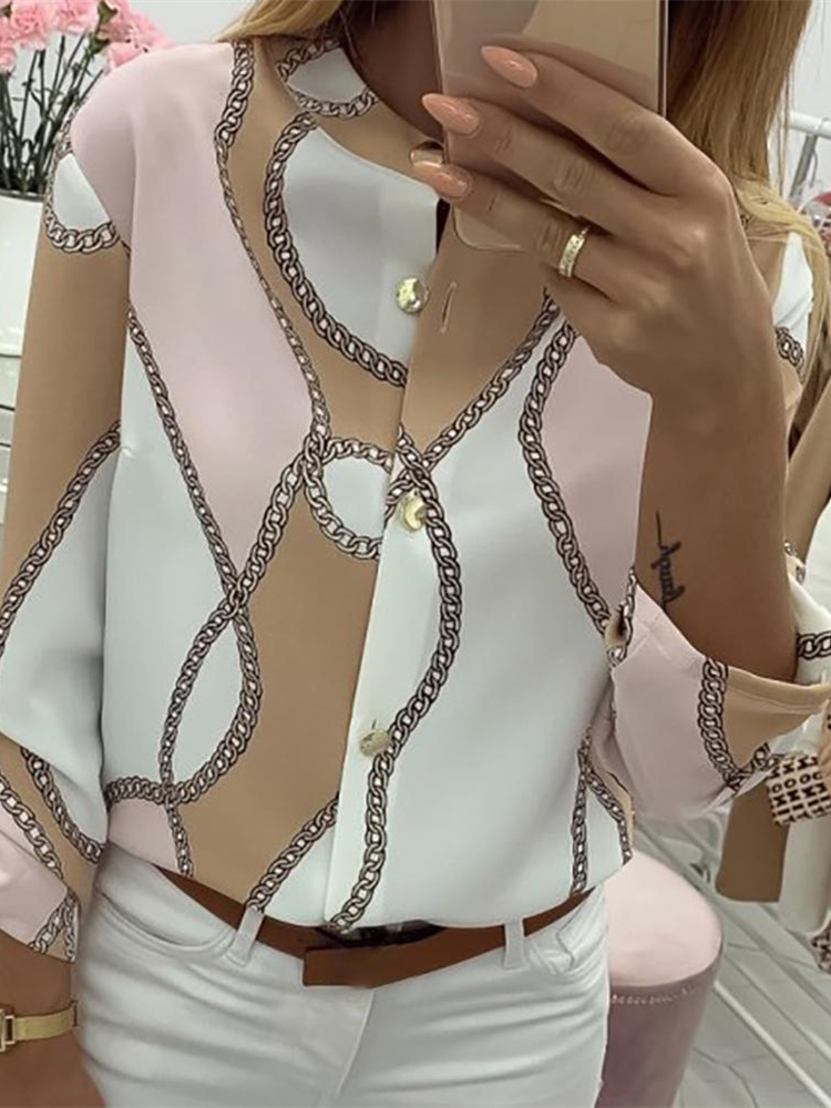 2019 Autumn Women Elegant Leisure Top Female V-Neck Basic   Shirt   Adjustable Sleeve Chains Print Button Design Casual   Blouse