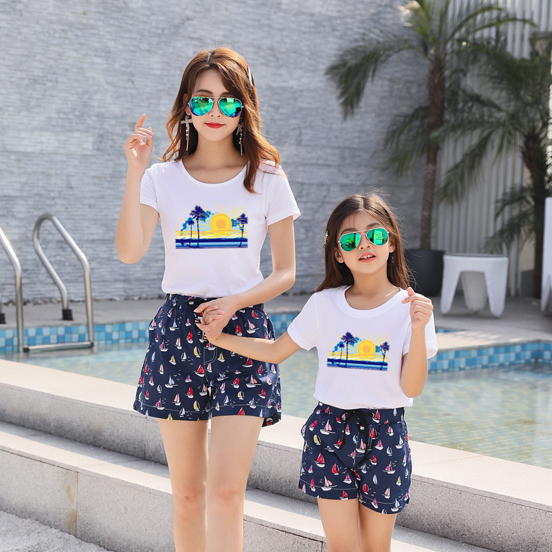 Beach Suit Family Seaside Holiday Family Pack Sweethearts Outfit Comfortable Suit  Tracksuit  Two Piece Sets