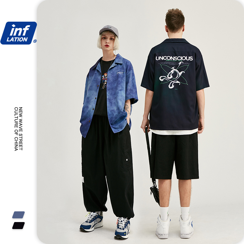 INFLATION Men Oversized Hawaiian Shirt Streetwear Camisa Hawaiana Hombre Fashions Short Sleeve Shirt Camisa Masculina 2035S20