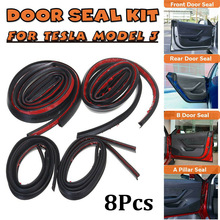 8PCS Car Front/Rear Door Seal Strip Stickers Kit Soundproof Rubber Weather Draft Seal Strips For Tesla Model3