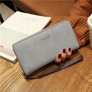 Женский кошелек, сумка для мобильного телефона, фирменный дизайн, Женский кошелек из искусственной кожи, длинные женские кошельки и кошельки, женский тонкий держатель для карт, кошелек - Цвет: gray