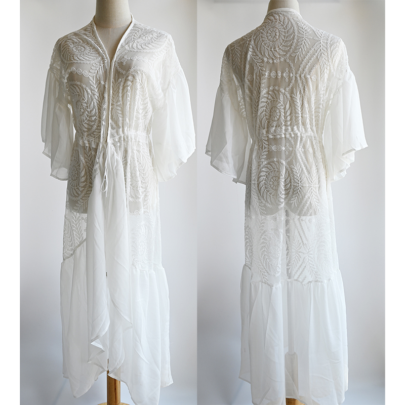 Image 5 - New Sexy Lace Beach Cover up Chiffon Patchwork Women Causal Summer Beachwear White Bikini Cover up Kaftans Beach Tunic PareosCover-up   -