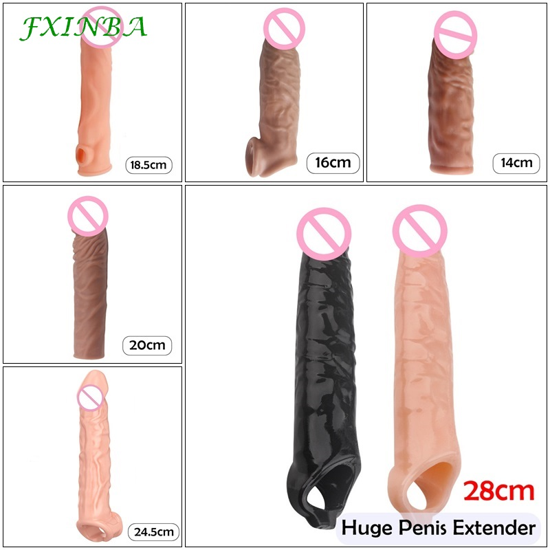 FXINBA 14-28cm Realistic Penis Sleeve Extender Cock Sleeve Dick Enlargement Delay Ejaculation Reusable Condom Men Sex Toys