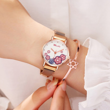 Ladies Watches 2019 Luxury Women Bracelet Quartz Watch For Fashion Flower Dial Clock Magnetic Waterproof Wristwatches Gift