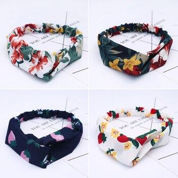 Fashion Women Girls Summer Bohemian Hair Bands Print Headbands Vintage Cross Turban Bandage Bandanas HairBands Hair Accessories 3