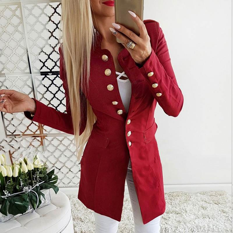 Women Formal Blazer Office Lady Work Chic Slim Blazers Casual Long Sleeve Jackets Coats Autumn Outwear Stand Collar Overcoats