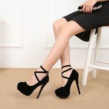 Women Pumps High Heels Thick Soles Cross Strap Platform Catwalk Nightclub Sexy S