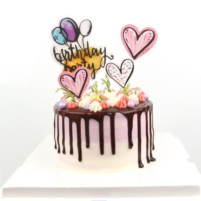 Pleasant 8Pcs Set Beautiful Balloon Heart Happy Birthday Cake Topper Birthday Cards Printable Riciscafe Filternl
