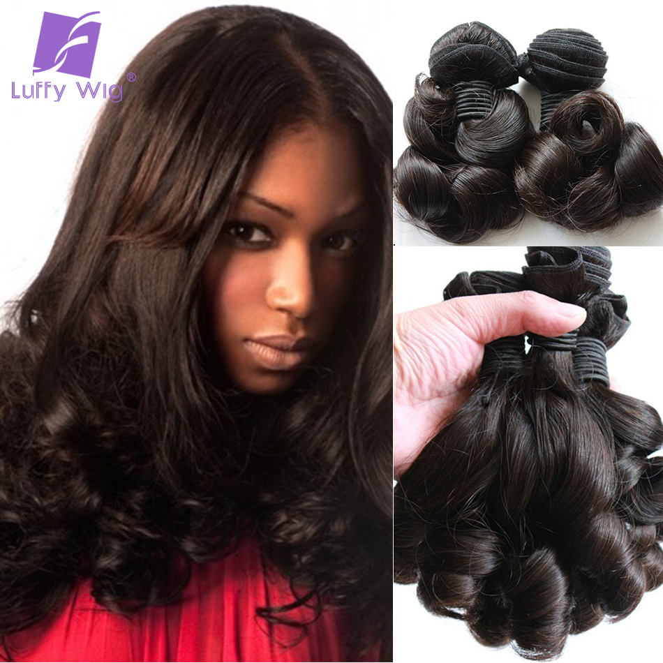 Bouncy Curly Human Hair Bundles 3pcs Brazilian Hair Aunty Funmi Weave Bundles Remy Human Hair Extensions Luffy
