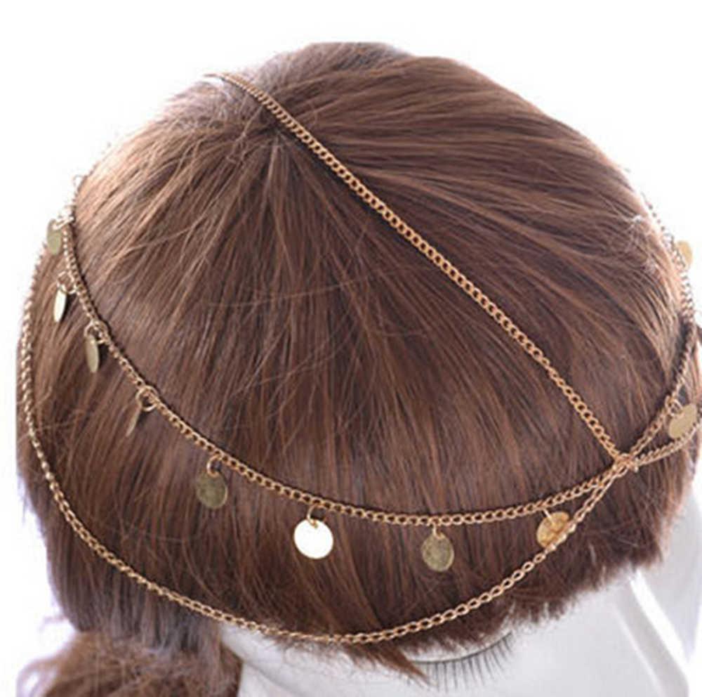 2019 ผู้หญิงวินเทจคลาสสิกหลายหน้าผากโซ่คริสตัลเลื่อม Tassels DROP หญิงหมวกกันน็อกหัวอุปกรณ์เสริมผมเครื่องประดับ