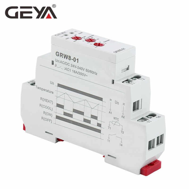 Ücretsiz kargo GEYA yeni GRW8-01 Din ray sıcaklık kontrol rölesi AC DC 24 V-240 V geniş voltaj su geçirmez sensörlü