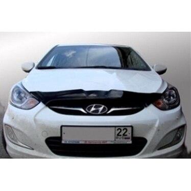 Hood deflector dark Hyundai Solaris 2010 2014 (short)  the NLD. Shys Front & Radiator Grills     - title=