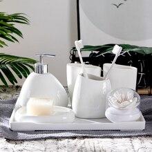 Set Toothpaste-Dispenser Bathroom-Decoration-Accessories Ceramic White Cotton-Swab-Box