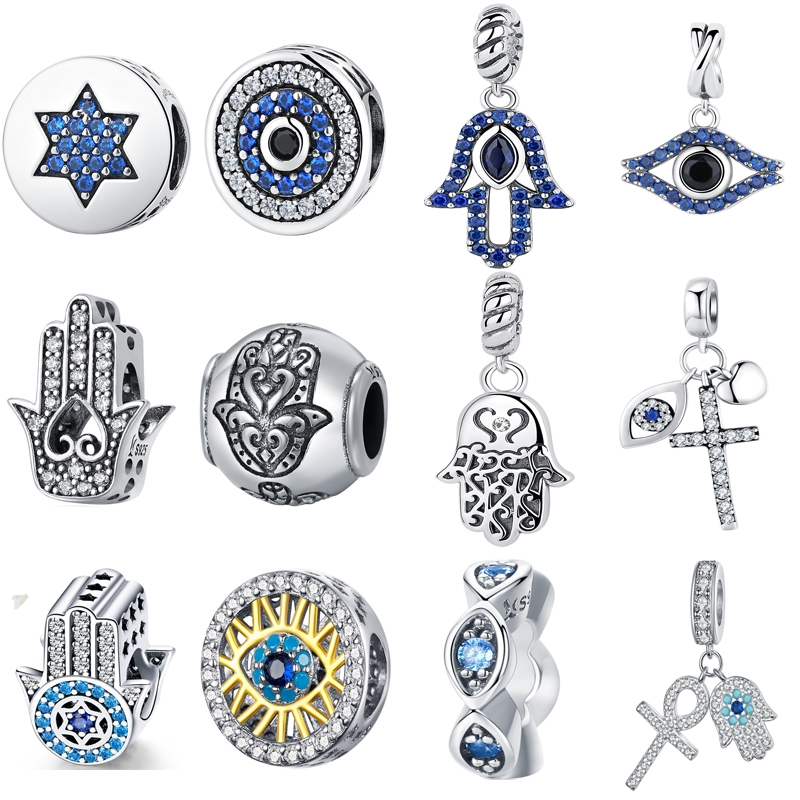BISAER 925 Sterling Silver Blue Crystals Eyes Round Bead Fatima Hamsa Hand Charms Fit Charm Silver 925 Original Bracelet Jewelry