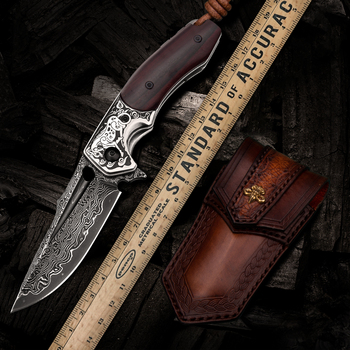 Handmade Folding Knife Damascus Steel Blade Wooden Handle EDC Self Defense Camping Hunting Tactical Pocket Knives with Sheath 1