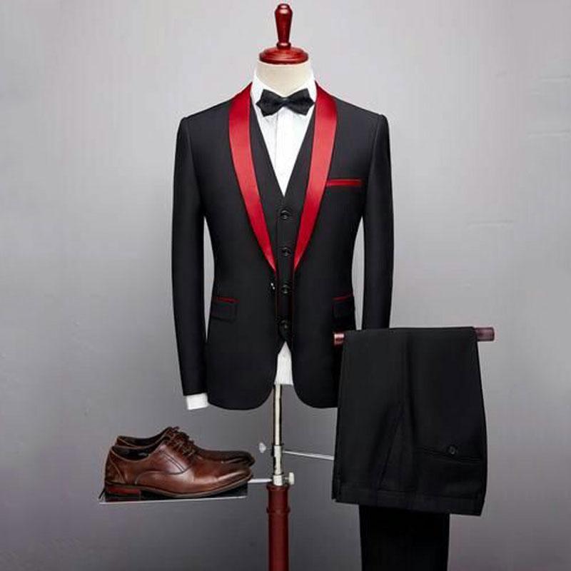 Black Suits Man 2019  Wedding Attire Man Jacket Red Shawl Groom Tuxedo Outfit 3Piece Costume Homme Man Blazer Terno Masculino