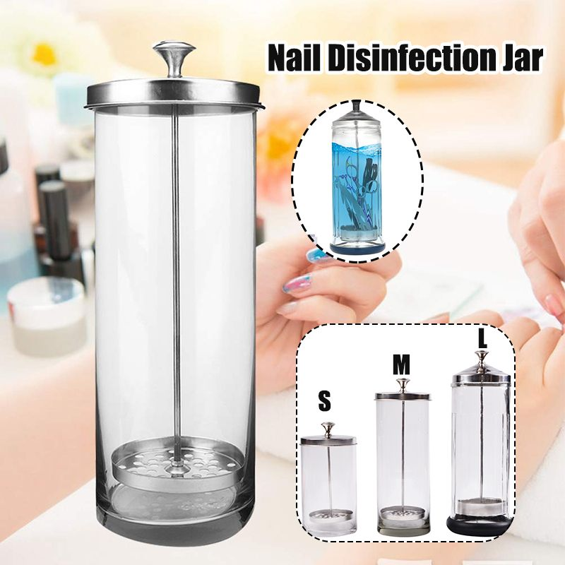 1Pcs Manicure Tools Disinfection Cup Professional Salon Manicurist Sterilization Container Sanitizer Glass Nail Disinfection Cup