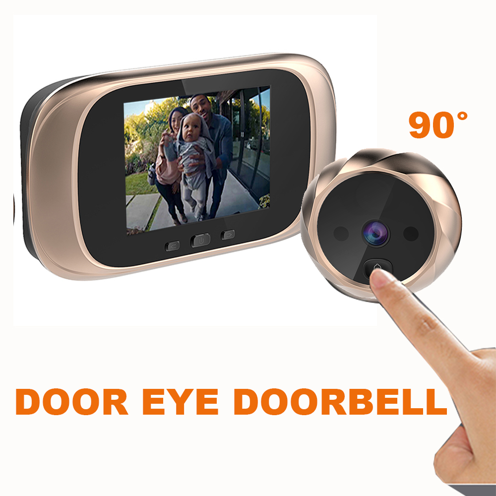 video systerm Dooebell 2.3 inch Monitor smart  Doorbell Door Peephole with Night Vision DD1 Long Standby Door Bell 90-Degree