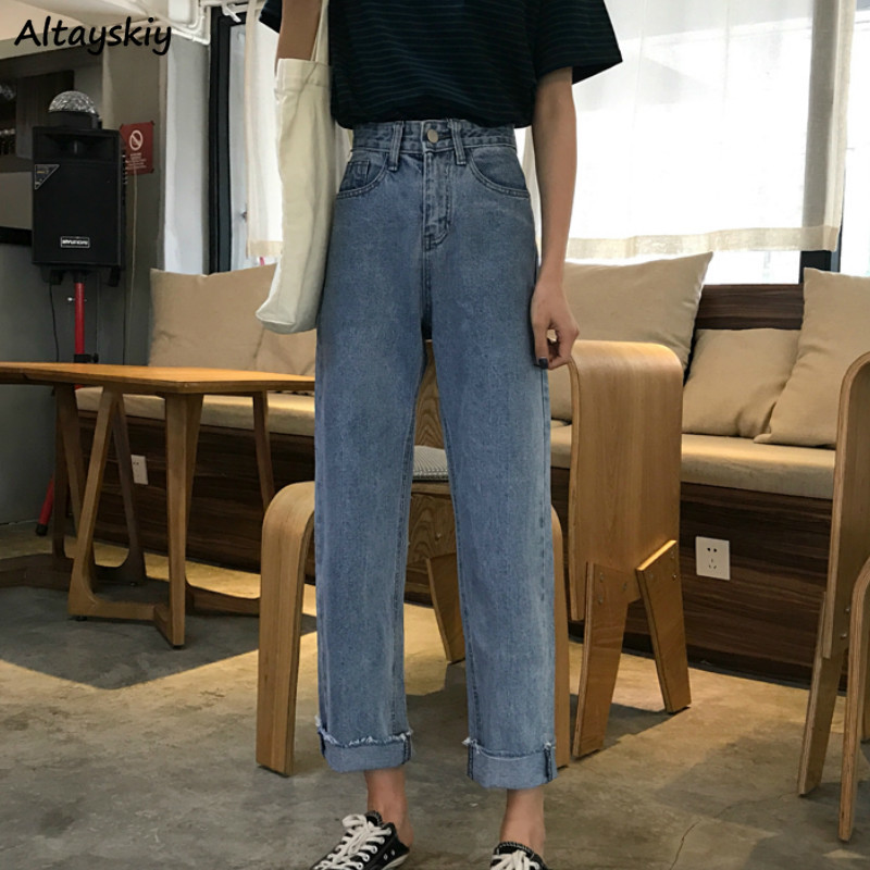 Jeans Women High Waist Zipper Pockets Ankle-Length Loose Straight Korean Fashion Casual Leisure Streetwear Students Daily Womens