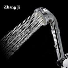 Zhangji High Pressure Spa Massage Showerhead 30 Hole Bathroom Round Water Temperature Handhold Shower Spray Head