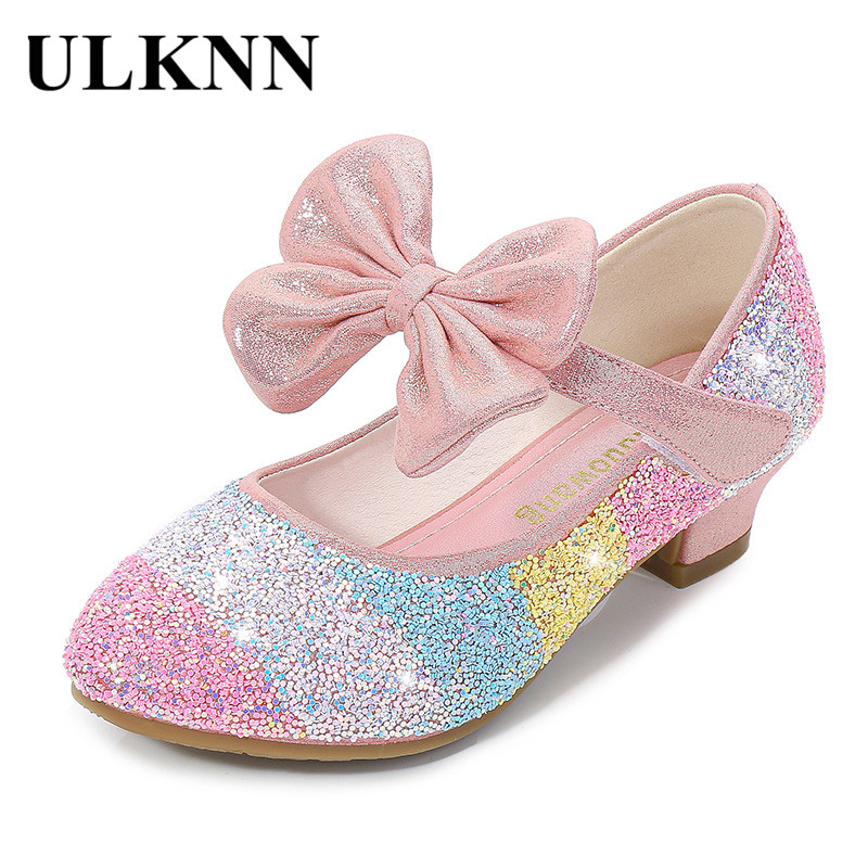 Girls' Leather Shoes Princess 2020 CHILDREN'S Shoes Round-Toe Soft-Sole Big Girls High Heel Princess Crystal Shoes