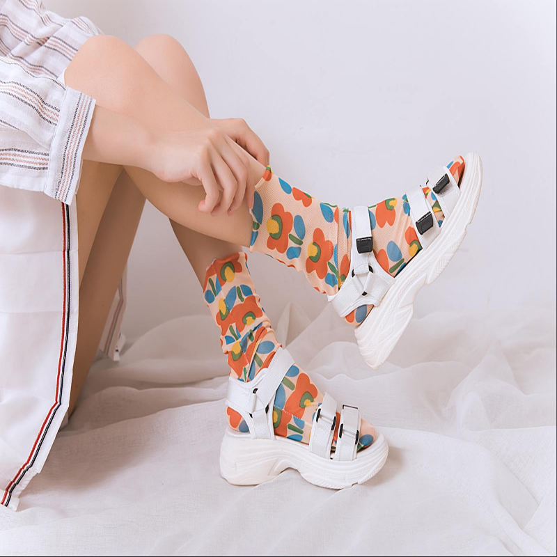 Women's Harajuku Breathable Transparent Mesh Floral Socks Sexy Ladies Net Yarn Fishnet Flower Socks Female Hosiery Korea New