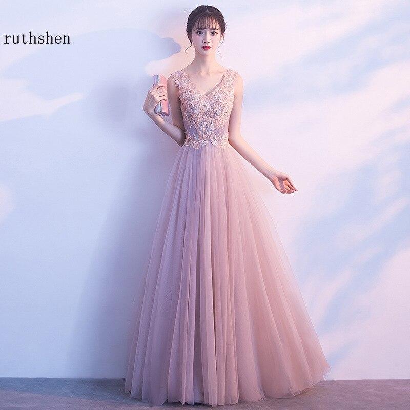 Evening Dresses Long  Prom Dress 2019 Lace Tulle A Line Formal Dress Women Elegant Bestidos De Gala