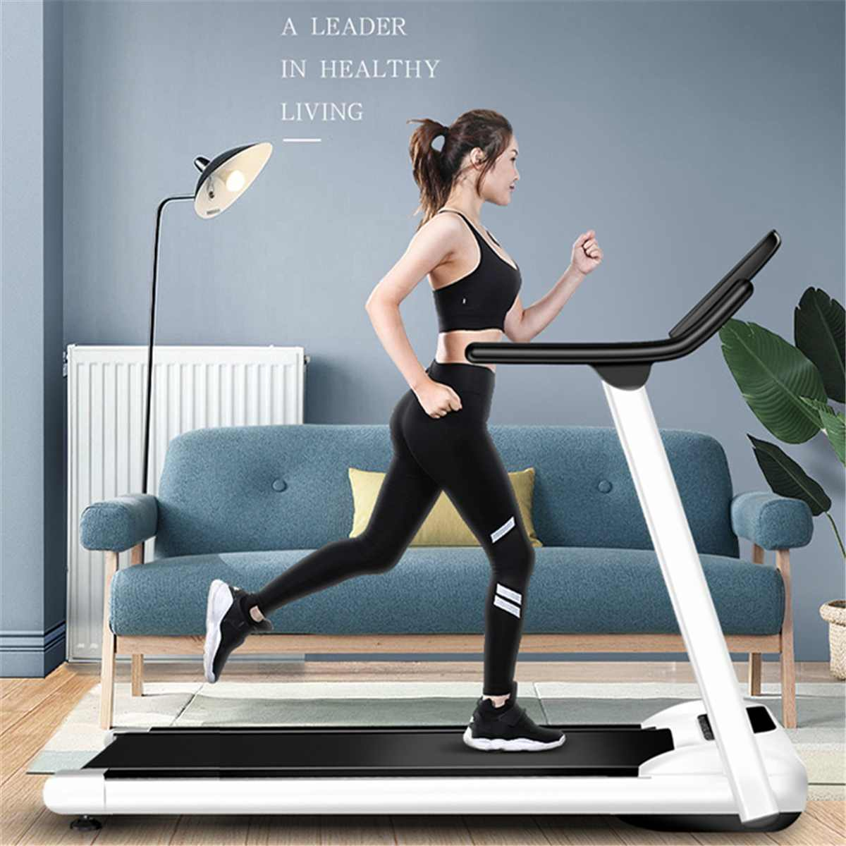 Folding Motorized Treadmill Portable Electric Treadmill Household Gym Treadmill Running Machine With LED Display Safe Bar