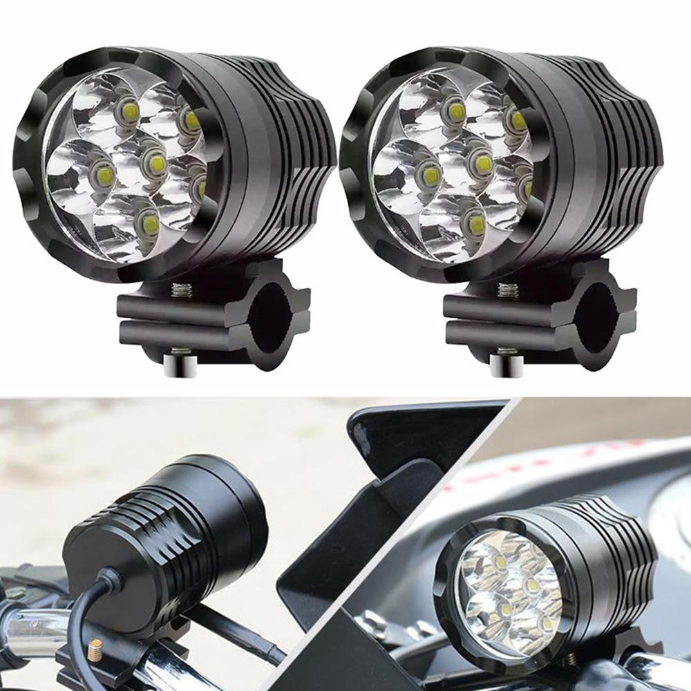 1 paire 12V 60W moto LED lumière auxiliaire conduite Spot phare antibrouillard 6000K moto phare