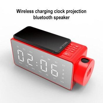 Bluetooth Speaker Bedroom Desktop Decoration Multifunction DIY Ringtone Alarm Clock Wireless Charging LED Display Projection