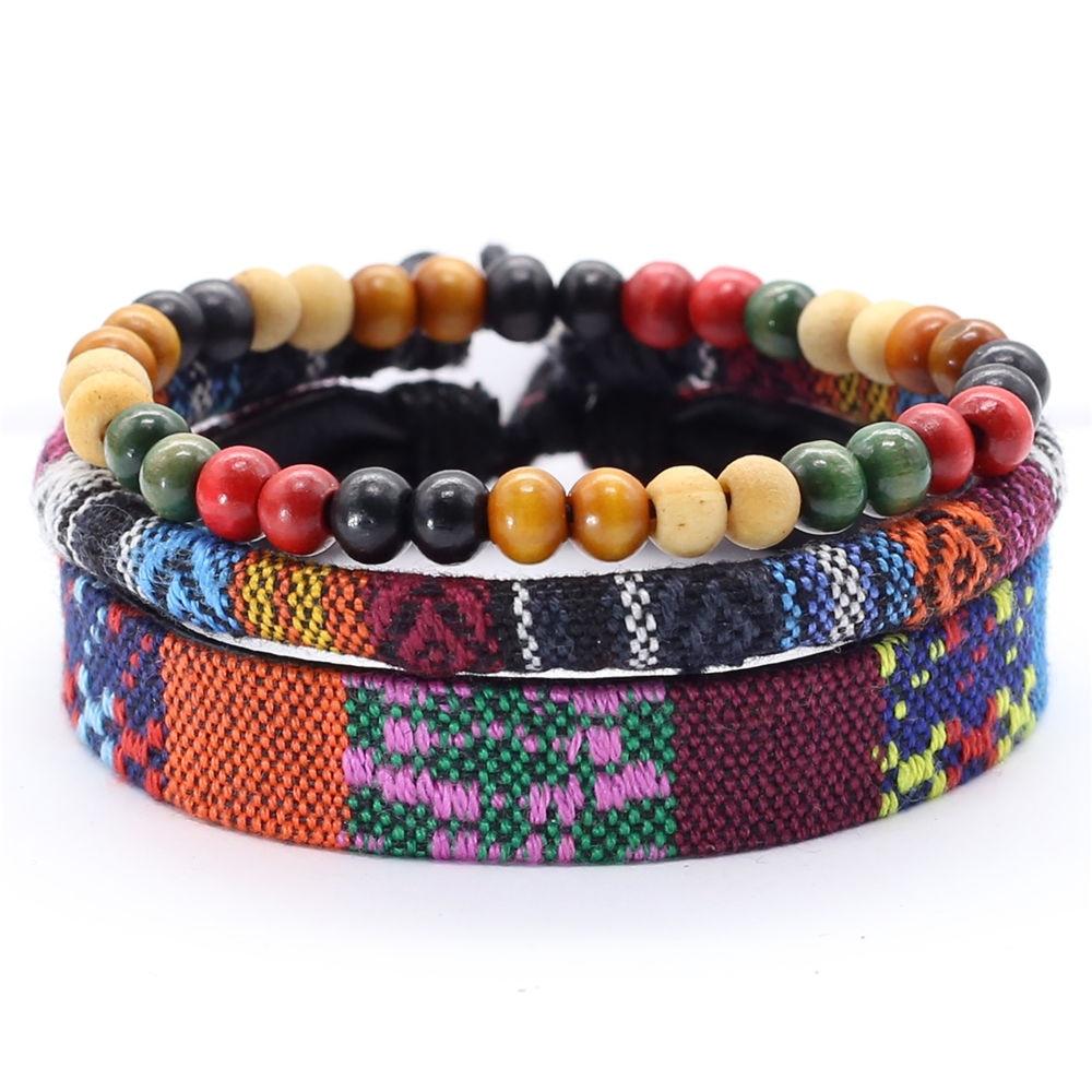 3 Pcs/set Handmade Weave Bohemia Wrap Men Bracelet Femme Jewelry Beads Leather Boho Bracelets for Women pulseras mujer moda 2019
