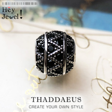 Beads Black Zig Zag Micro Pave Ball Charm Bead For Women DIY Fine Jewelry Making Silver Sterling Europe Fashion Bead