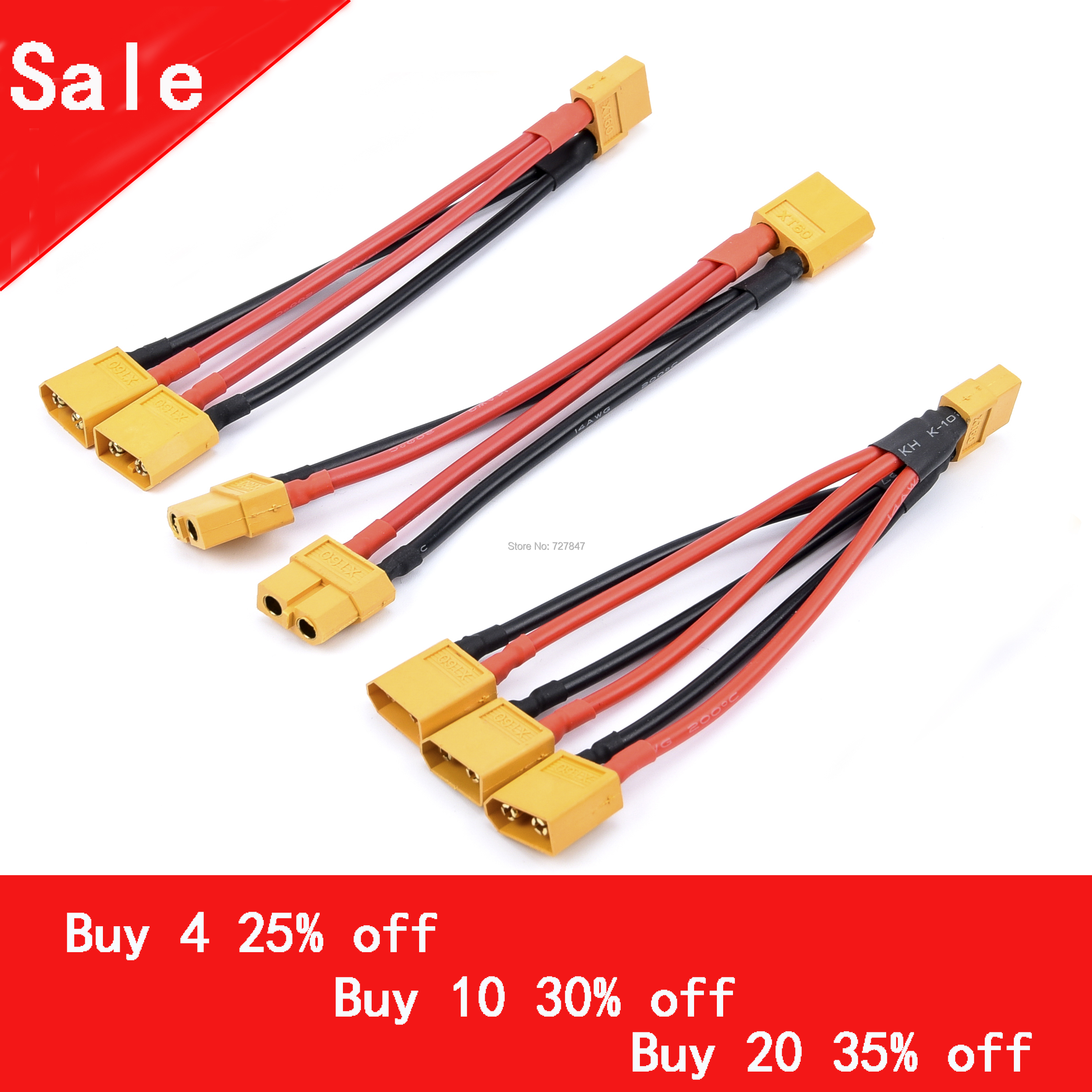 XT60 Parallel Battery Connector Male/Female Cable Dual Extension Y Splitter/ 3-Way 14AWG Silicone Wire For RC Battery Motor