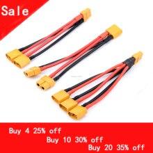 XT60 Параллельный разъем для аккумулятора, мужской/женский кабель, двойной удлинитель Y сплиттер/3-ходовой 14AWG силиконовый провод для двигател...