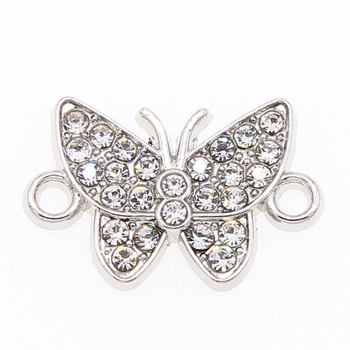 6pcs white K butterfly crystal double circle connector, used to make bracelet DIY result jewelry accessories 14*13mm image