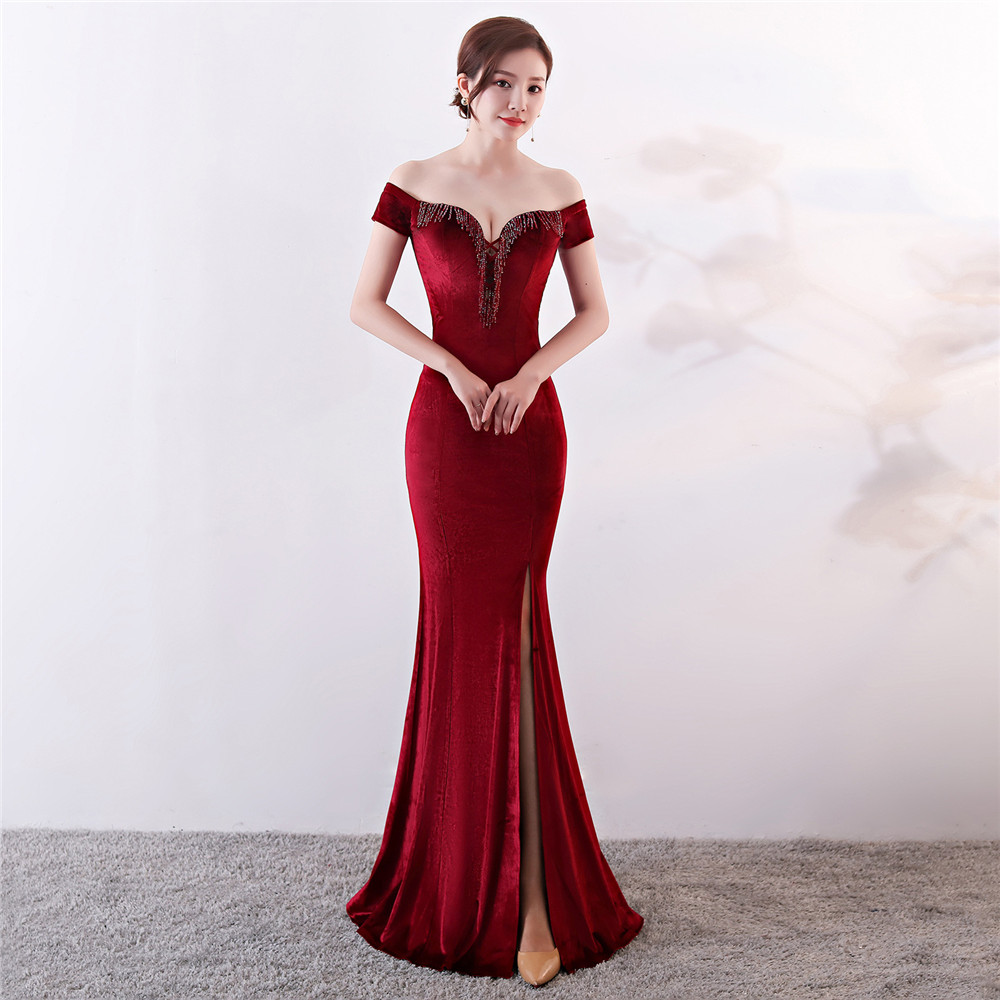 Skyyue Evening Dress Off The Shoulder Women Party Dresses Sexy Split Tassel Robe De Soiree 2019 Boat Neck Evening Gowns C201 in Evening Dresses from Weddings Events