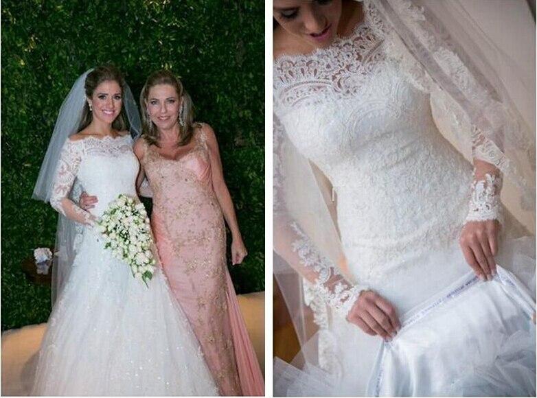 Romantic Appliques New Fashionable Hot Sexy Vestido De Novia Casamento Long Sleeve Bridal Gown Wedding Dress 2016 Free Shipping