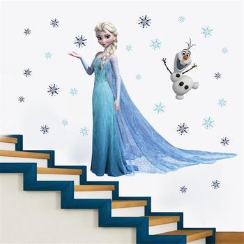 Cartoon Princess Elsa Wall Stickers for Kids Rooms Girls Bedroom Poster Vinyl DIY Mural Art Adesivo de parede Decal Baby Nursery 15